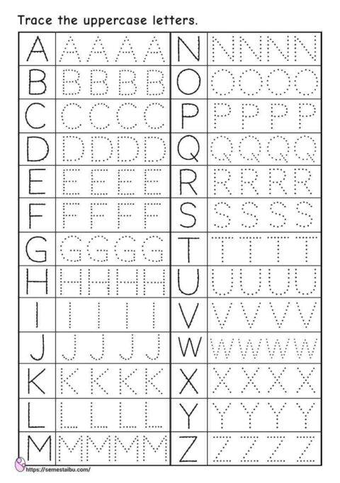 Alphabet tracing uppercase letters - kindergarten worksheets