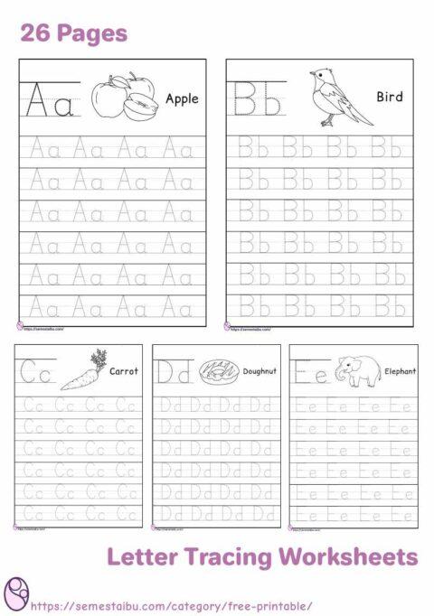 Kindergarten worksheets - tracing letter