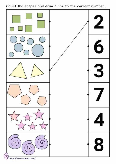 Counting worksheet - shapes - draw a line