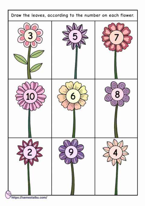 Counting worksheet - kindergarten - drawing leaves