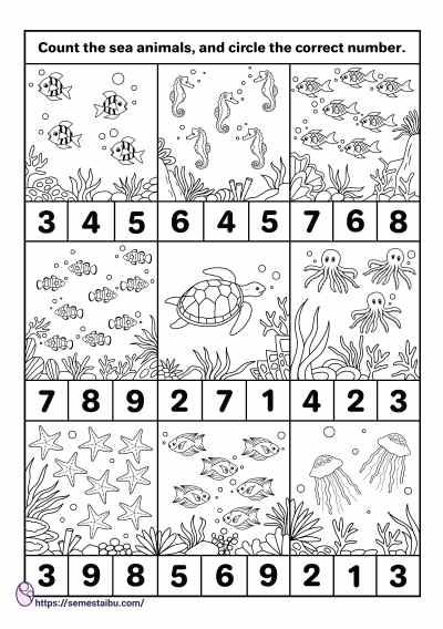 Counting worksheets - kindergarten - sea animals