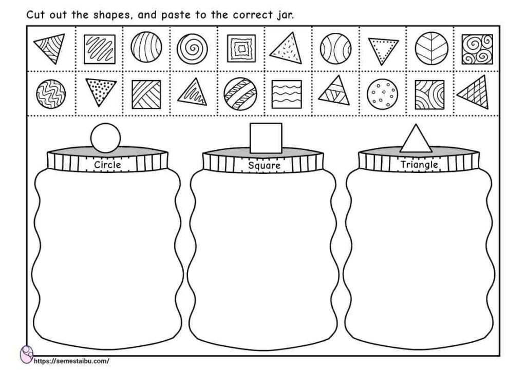 Cut and paste - shapes - sorting worksheets
