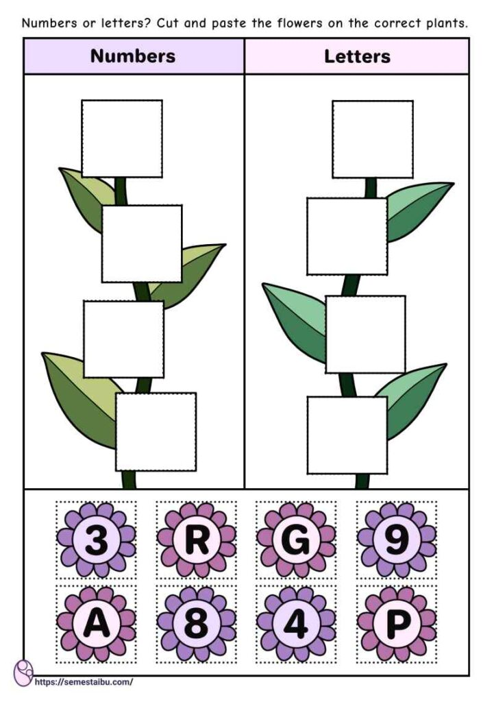 Cut and paste - sorting worksheets - numbers and letters