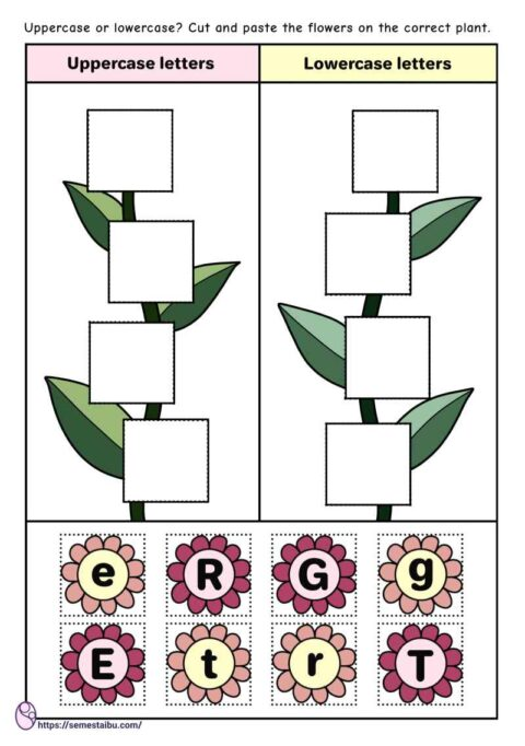 Cut and paste - sorting worksheets - uppercase and lowercase