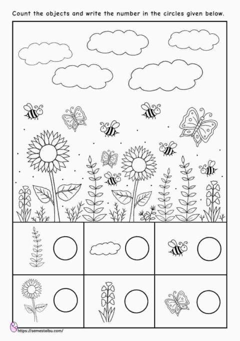 Counting worksheets - i spy game - kindergarten