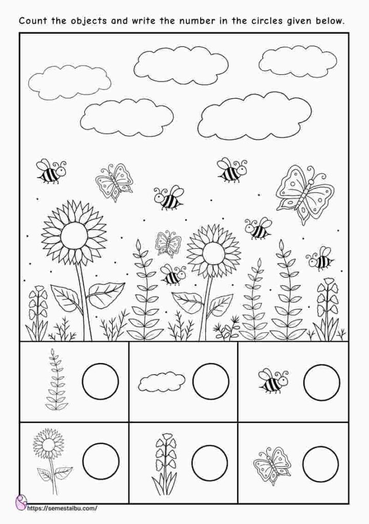 Counting worksheets - i spy game - kindergarten