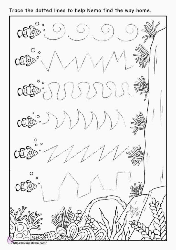 Kindergarten worksheets - line tracing