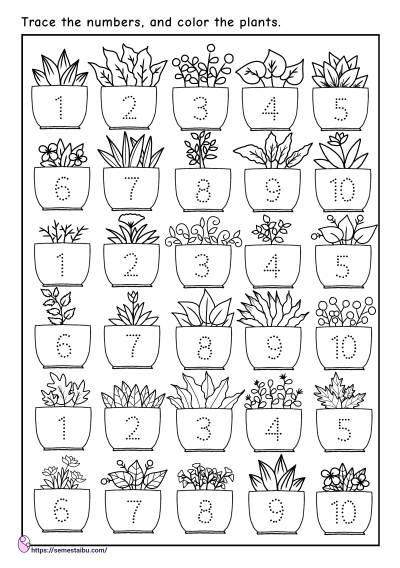 Kindergarten worksheets - number tracing 1-10