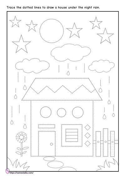 Kindergarten worksheets - shape tracing - house