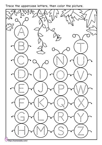 Letter tracing - uppercase - kindergarten worksheets