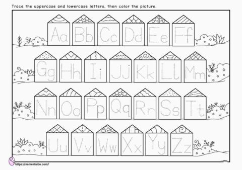 Letter tracing - uppercase lowercase - kindergarten worksheets