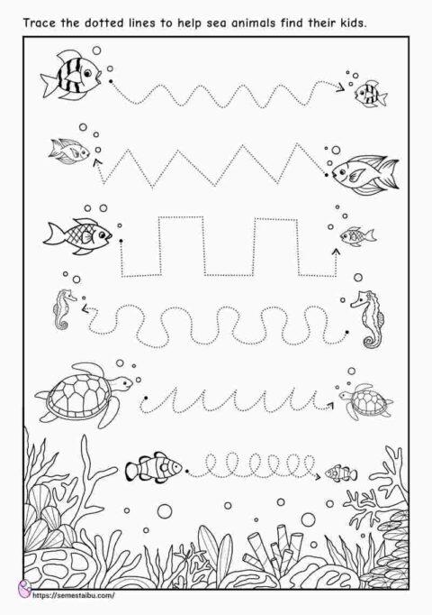 Line tracing - kindergarten worksheets