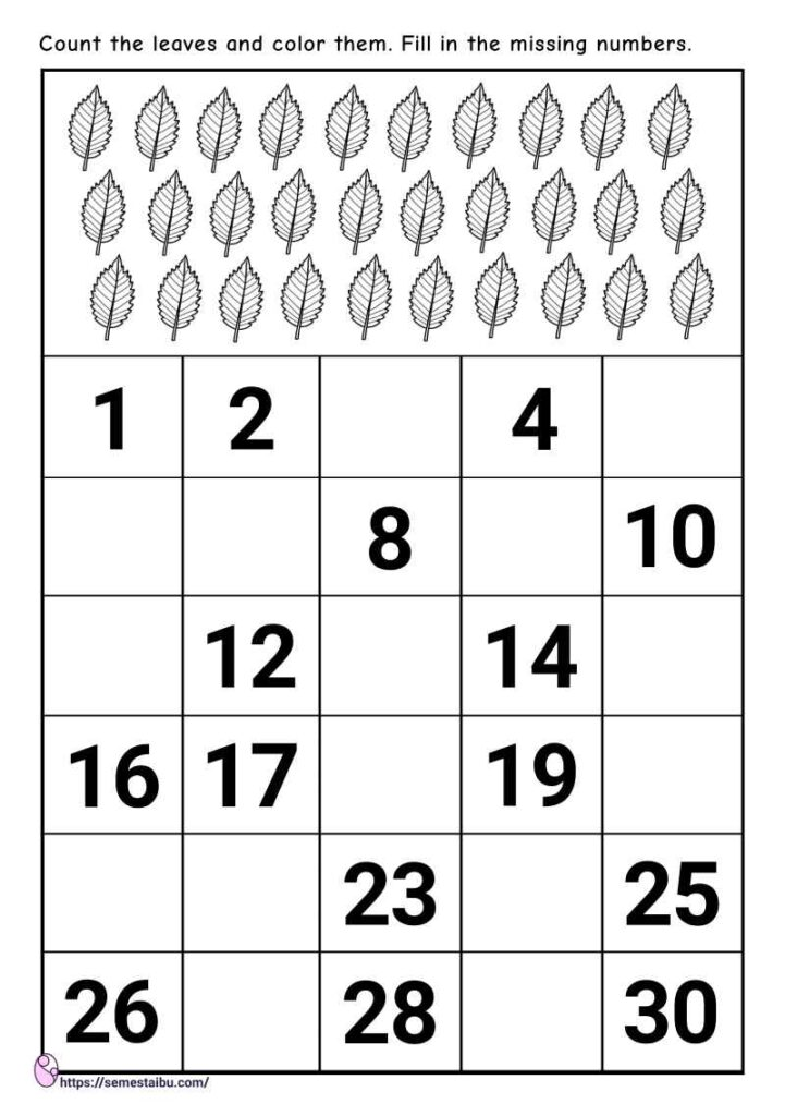 Missing numbers - skip counting worksheets