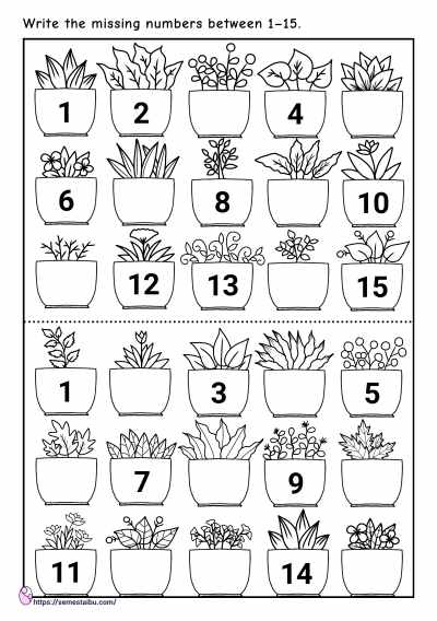 Missing numbers - kindergarten worksheets