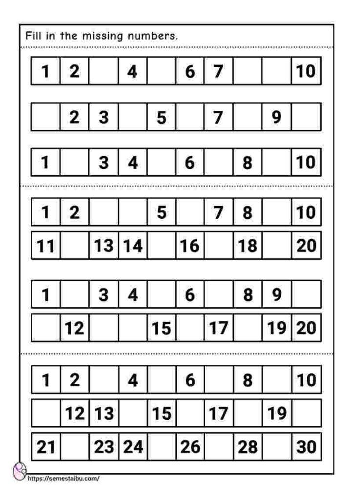 Missing numbers - kindergarten worksheets