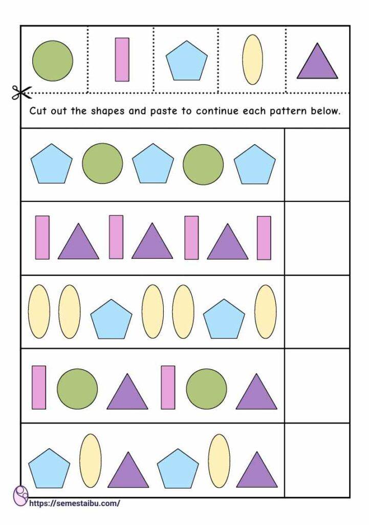 Kindergarten worksheets - pattern recognition - cut and paste