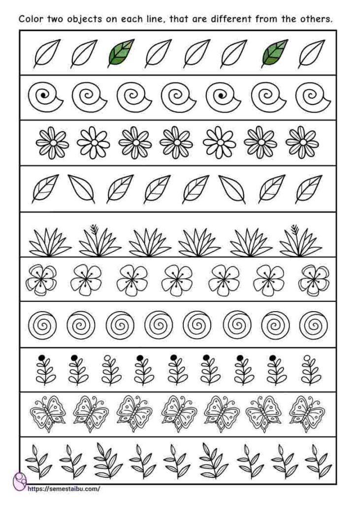 Kindergarten worksheets - same and different