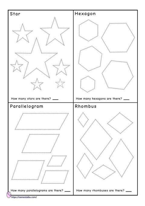 Tracing shapes - counting worksheets - star - hexagon - parallelogram - rhombus