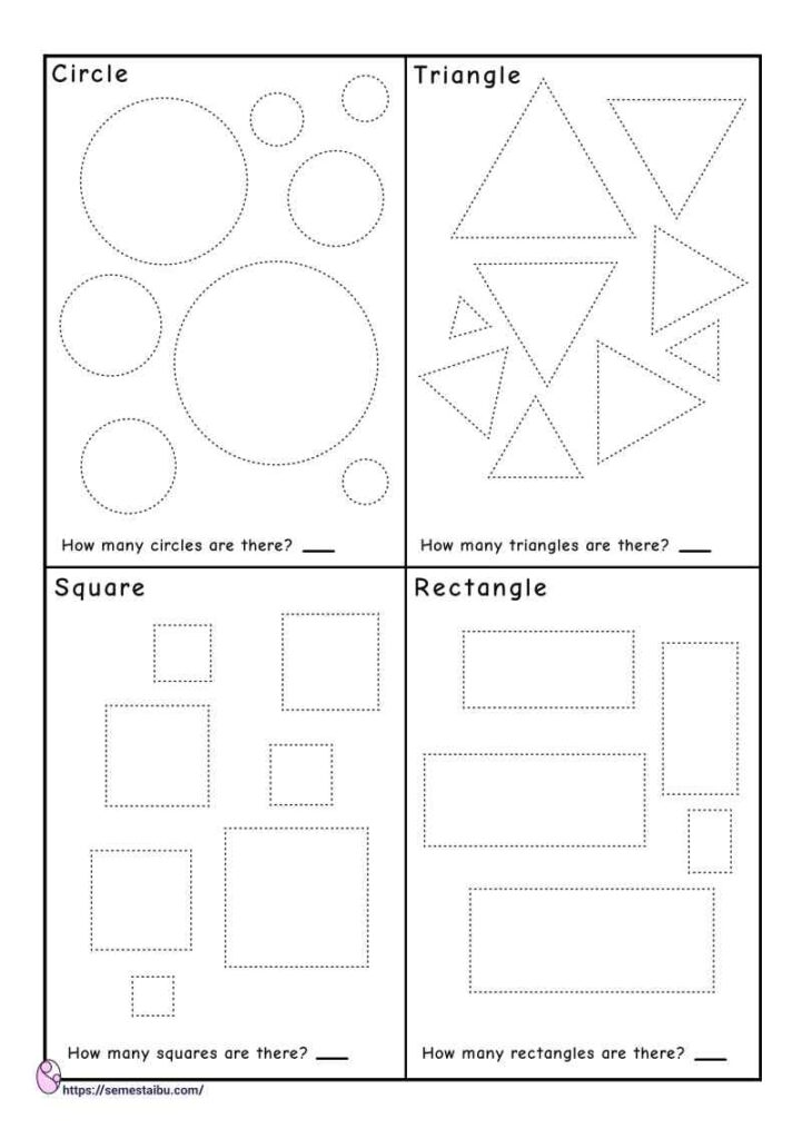 Tracing shapes - counting worksheets - circle - triangle - square - rectangle