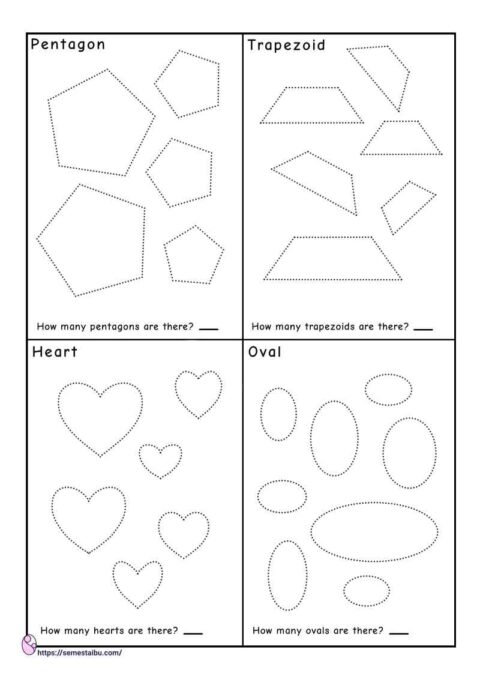 Tracing shapes - counting worksheets - pentagon - trapezoid - heart - oval